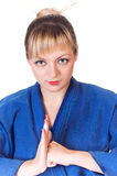 Girl in dark blue kimono Stock Photography