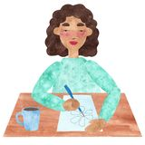 A girl with dark curly hair in blue, drawing and relaxing in a pause vector illustration