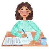 A girl with dark curly hair in blue, writing vector illustration