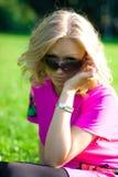 Girl in dark glasses Stock Images