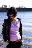 Girl in dark glasses Stock Image