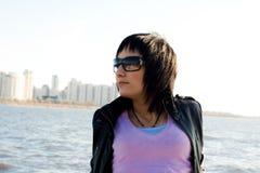 Girl in dark glasses Royalty Free Stock Images