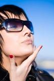 Girl in dark glasses Stock Photos