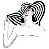 Girl with dark hair in big striped hat -. The girl with dark hair in big striped hat -  illustration Royalty Free Stock Photography