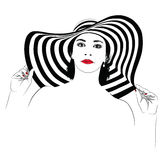 Girl with dark hair in big striped hat -. The girl with dark hair in big striped hat -  illustration Royalty Free Stock Images