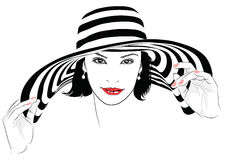 Girl with dark hair in big striped hat -. The girl with dark hair in big striped hat -  illustration Stock Photos