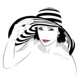 Girl with dark hair in big striped hat -. The girl with dark hair in big striped hat -  illustration Stock Photo