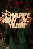 The girl in a green dress near a New Year tree. The girl with dark hair color in a green dress near a New Year tree Royalty Free Stock Photo