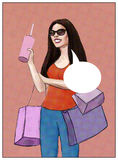 Girl with dark hair and dark eyes holding three colored bags and a drink - pop art Royalty Free Stock Image