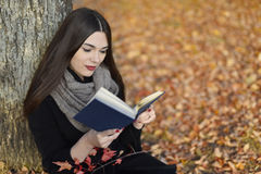 Girl with dark hair reads blue book in autumn park Stock Photography