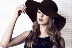 5dcdee267 Girl Dark Hair Wearing Black Dress Elegant Hat Stock Images ...