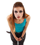 Girl in a dark makeup with expression Royalty Free Stock Photography