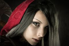 Dark Red Riding hood Royalty Free Stock Photography