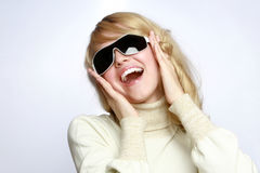 Girl with dark sunglasses Royalty Free Stock Photo