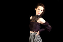 Girl in dark Victorian dress Royalty Free Stock Image