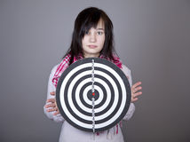 Girl with darts. Royalty Free Stock Images