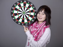 Girl with darts. Royalty Free Stock Photos