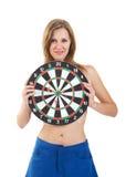 Girl with darts Royalty Free Stock Photos
