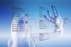 Girl with Database Tables Royalty Free Stock Photography