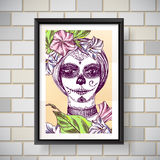 Girl with day of the dead make up Royalty Free Stock Images