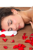 Girl at the day spa - smiling female face royalty free stock photos