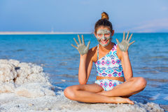 Girl At The Dead Sea, Israel. Royalty Free Stock Photo