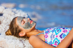 Girl At The Dead Sea, Israel. Royalty Free Stock Images