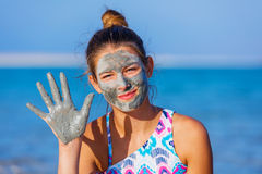 Girl At The Dead Sea, Israel. Royalty Free Stock Photos