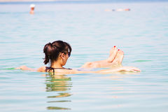 Girl at the Dead Sea Royalty Free Stock Images