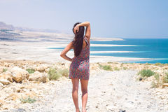 Girl at the Dead Sea Stock Photos
