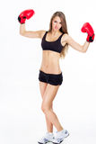 Girl  Deals with professional Boxing. Royalty Free Stock Photos