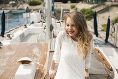 The girl on the deck Stock Photography