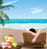 Girl on deckchair Royalty Free Stock Images