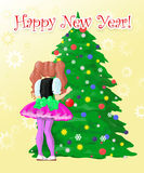 Girl decorate New Year's tree. Little girl near the Christmas tree, post card Vector Illustration