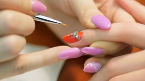 Nail Design With Rhinestones Closeup Stock Footage Video Of