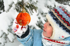Girl Decorating Christmas Tree Stock Photos