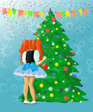Girl decorating Christmas tree. Little girl near the New Year's tree Vector Illustration