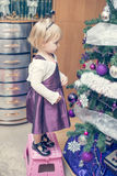 Girl decorating christmass tree. Beautiful girl decorating christmass tree royalty free stock image