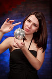 Girl with decoration ball Royalty Free Stock Image