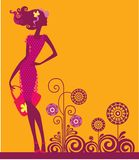 Girl with decorative flowers. Vector illustration of a silhouette of young girl on decorative background Royalty Free Stock Photos