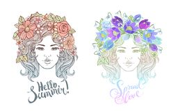 Girl decorative hairstyle with flowers, leaves in hair in doodle style. Nature, ornate, floral illustration and hand. Sketched lettering Hallo summer. Zentangle stock photos
