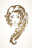 Girl with a decorative ontamental hair. Vector illustration Abstract girl with ornamental hair Royalty Free Stock Image