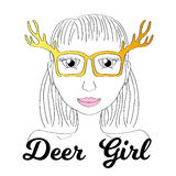 Girl in deer horn glasses. Boho style fashionista girl print. Deerhorn thin line  illustration. Royalty Free Stock Images