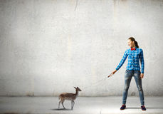 Girl with deer Royalty Free Stock Photography