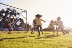Girl defending goal at football game with family and friends Stock Image