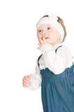 The girl delightfully looks upwards Royalty Free Stock Photo