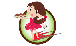 Girl delivery cake Stock Images