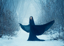 The girl a demon walks alone. She is wearing a long, black traveling cloak Stock Photography