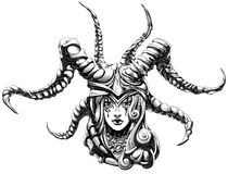 Girl demon. Woman shaman wearing a helmet with horns Royalty Free Stock Photos