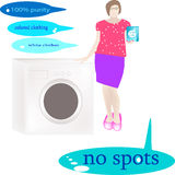 The girl demonstrates the washing powder for coloured and white clothes near washing machine. Cleans stains on 100 Stock Images